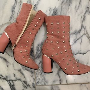 Pink Studded Booties